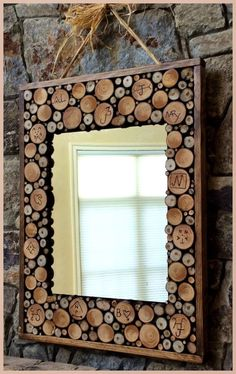 Lipstick and Sawdust: DIY mirror w/ wood slices and custom branding class auction items DIY auction projects School auction - Makeup Ideas Wood Slice Crafts, Wood Crafts, Decor Crafts, Diy Crafts, Diy Wood Projects, Woodworking Projects, Woodworking School, Teds Woodworking, Woodworking Apron