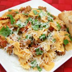 Sweet Pea's Kitchen  » Farfalle Pasta with Sausage, Tomatoes, and Cream