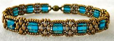 "STACKERS VARIATION   11/0 seed beads Miyuki ""Dark Bronze"" (457)  SuperDuo beads ""Crystal Luster Gold""  CzechMates ""Capri Blue Gold Marble..."