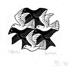 Max C. Escher, Plane-filling Motif with Birds 1949 wood engraving (reversible figure-ground relationship)