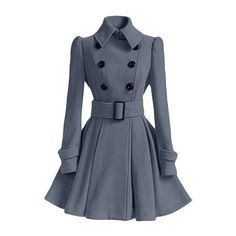 Women's Chic Belt Long Sleeve Winter Coat Dress (2.165 RUB) ❤ liked on Polyvore featuring outerwear, coats, blue coat and long sleeve coat