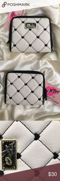 💥SALE💥NWT Betsey Johnson Quilted Heart Wallet! BRAND NEW Betsey Johnson Quilted Black &a White Hearts Wallet! Super cute and in Excellent condition, new with tag! Comes with 4 card slots, zip up coin slot, and zip closure. Will ship same day, get her now❤ Betsey Johnson Bags Wallets