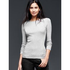 Gap Women Modern Long Sleeve Crew Tee ($20) ❤ liked on Polyvore featuring tops, t-shirts, heather grey, regular, crew t shirt, lightweight long sleeve t shirts, long sleeve tee, crew tee and slim tee