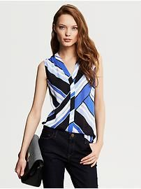 Banana Republic | BOLD. Try this bold stripe sleeveless blouse for some fun!