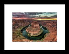 Horseshoe Bend Sunset. Beautiful sunset at the famous bend in the shape of a horseshoe of the colorado river near page, Arizona.  horseshoe bend, horseshoe, bend, river, colorado river, arizona, page, outdoors, nature, landscape, popular, famous, landmark, sunset, water, canyon, grand canyon, travel, road trip, pierre leclerc photography, calm serenity, peaceful, grandeur, natural wonder, scenic, hike