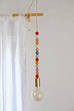 DIY Lighting: Wooden Bead Pendant Light #light #lights #lighting #lamp #lamps #pendantlamp #pendantlight #DIY