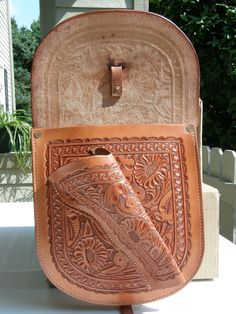 Nice tooling on Saddle Bags with Holster by GardnersWorkshop