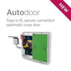 The NEW Autodoor is here! Easy to fit, secure and convenient - this is the ultimate coop companion you have been waiting for. Automatic Chicken Coop Door, Door Opener, Steel Doors, Light Sensor, Coops, Door Design, Waiting, Frame, Fit