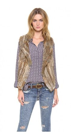 ANDONI RABBIT FUR VEST - $214.39  A luxurious Joie vest made from soft rabbit fur. Hook-and-eye closure. Unlined.