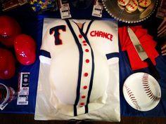 Texas Rangers themed baby shower cake! @Elizabeth Lockhart Lockhart Stillman this would be something you do :)) lol