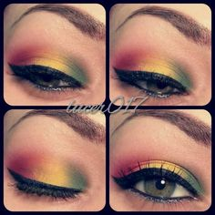 Rasta colours -Eye Make-up Look. Great for Carnival