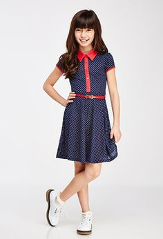 Belted Polka Dot Shirtdress (Kids) | FOREVER21 girls - 2000098443