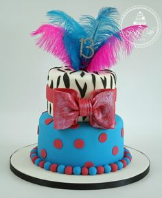 One of last weeks birthday cakes.x #feathers #zebra #bling #cake #spots #bow