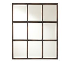 *Eagan Multipanel Small Mirror - Bronze #potterybarn (also like the wall color, rug and wood stain color)