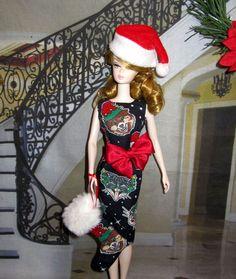 Sheath Dress Hat Stocking w Happy Holidays dog cat prints for silkstone Barbie Dress Up Dolls, Dress Hats, Barbie Dress, Ugly Sweater Day, Ugly Christmas Sweater, Christmas Barbie, Christmas Fashion, Happy Holidays Barbie, Barbie Wardrobe