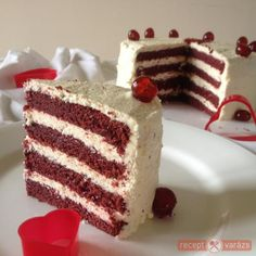 Vörös bársony torta Cold Desserts, Pudding Desserts, No Bake Desserts, Hungarian Cake, Hungarian Recipes, Cakes And More, Let Them Eat Cake, No Bake Cake, Sweet Recipes