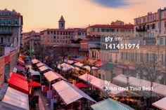 Stock Photo : Evening light over flower market