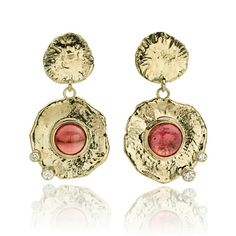 Pink tourmaline and diamond earrings. www.hoogenboombogers.com. Or email for Inquiries info@hoogenboombogers.com