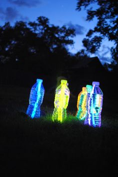 Outdoor glow in the dark bowling ... just add a glow stick to a water bottle and fill it with water.Fun to do on a warm Summer night!