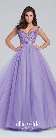 Prom Dresses 2017 - Ellie Wilde for Mon Cheri - lavender tulle ball gown prom dress with beaded bodice - Style No. EW117138