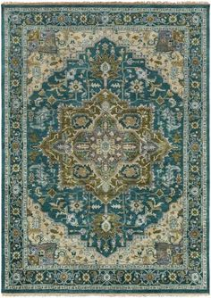 Surya Zeus ZEU-7822 Teal Hand Knotted Area Rug – Incredible Rugs and Decor