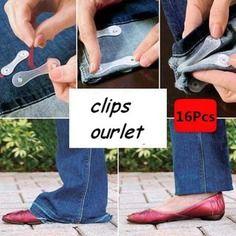 16x clips pince attache ourlet  pantalon jeans re-utilisable plastiqu