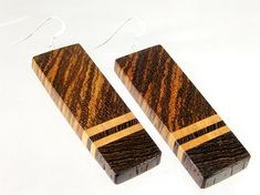 Handmade from natural wood free of dyes or stains. Designer earrings – slanted grain rectangle in zebrawood, maple and wenge on sterling silver ear wires. One of a kind wearable art. Lightweight. SKU: 771