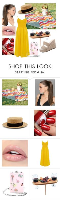 """""""a chic picnic 😉"""" by ana-zigne ❤ liked on Polyvore featuring Madison Park, Prada, Edie Parker and Improvements"""