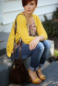 Thrift and Shout: Cute Outfit of the Day: Yellow and Florals for Fall; fashion, Nine West suede bucket bag, Banana Republic distressed boyfriend jeans, thrift shopping, thrifting, thrift store, Forever 21 top and sweater,  see how I got this entire outfit for only $30!