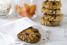 Breakfast Cookies from Epicurious.com : Oats, flax, quinoa, coconut, nuts, cinnamon, dates, dried fruit