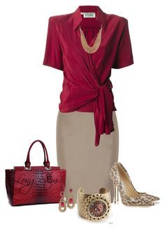A fashion look from September 2014 featuring Gianfranco Ferré blouses, Valentino skirts y Jimmy Choo pumps. Browse and shop related looks. Office Fashion, Business Fashion, Work Fashion, Fashion Looks, Mode Outfits, Fashion Outfits, Womens Fashion, Classy Outfits, Casual Outfits