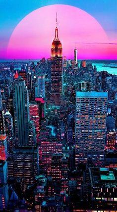 Wallpaper Tumblr Lockscreen, City Wallpaper, Vaporwave Wallpaper, Manhattan Nyc, Empire State Building, New York, World, Travel, Wall Papers