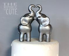 Silver Indian #Elephant Cake Toppers