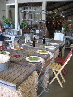 Wedding hay bale table