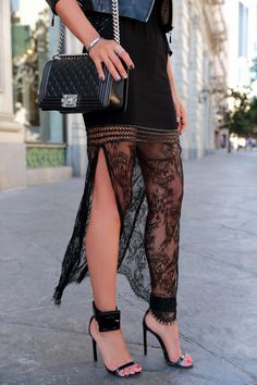 Chanel Boy bag, sheer lace skirt and black Gucci sandals for elegant street style. #chanelboy #lace #gucci