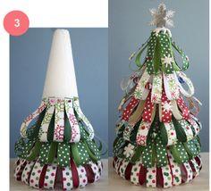 Decoração de Natal árvore de Natal com fitas