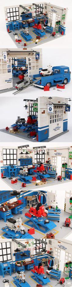 'Officina Super Sprint' classic Vespa LEGO workshop model by Andrea Lattanzio