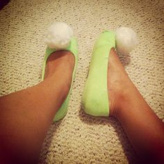 Green Socks over a small pair of flats, glue on some puff balls from Hobby Lobby and you have tinker Bell shoes <3