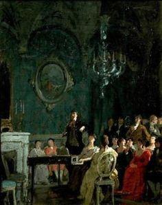 Painting by Annibale Gatti Paganini alla corte di Elisa Bonaparte Baciocchi a Lucca. Paganini at the court of Elisa Bonaparte Baciocchi in Lucca.