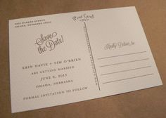 Sweet double sided save the date postcard / US Map / Love in Omaha / Clover Pattern / Custom Design by Darby Cards