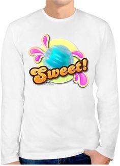 Candy Crush - Badge Sweet Bubble - Kendin Tasarla - Erkek Bisiklet Yaka Tişört Uzun Kollu