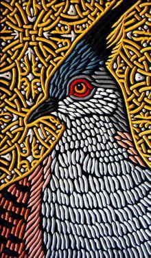 Pigeon painted woodcut block on salvaged Douglas Fir x Lisa Brawn 2013 Crested Pigeon, Doodle Paint, Woodcut Art, Jelly Roll Quilt Patterns, Bird Drawings, Wood Engraving, Wild Birds, Bird Prints, Bird Art