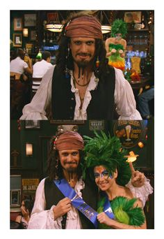 Lily Aldrin as a parrot and Marshall Eriksen as a gay pirate
