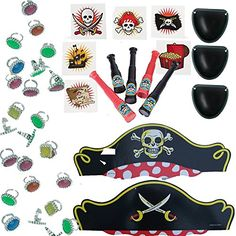 Pirate Birthday Party Favors for 12 - 12 Pirate Hats, 12 Eye Patches, 36 Tattoos, 24 Colorful Rhinestone Rings, 12 Mini Toy Telescopes, 1 Party Game Idea Card (Bundle of 6 different items) Total 97 pieces Multiple http://www.amazon.com/dp/B00YNFAH9M/ref=cm_sw_r_pi_dp_8xefxb1YK1F8R