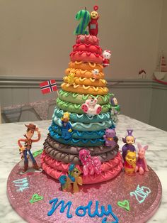 Norwegian kransekake Rainbow cake for my daughters 21st birthday! Wow this was a bit tricky to make but so worth it!