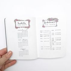 Bullet journal monthly overview, bullet journal monthly habit tracker, bullet journal monthly calendar, linear calendar, vertical calendar, flower drawing, floral drawing. | @northernplanner