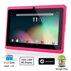 Dragon Touch® 7'' Pink Dual Core Y88 Google Android 4.1 Tablet PC, Dual Camera, HD 1024x600, 4GB, Google Play Pre-load, HDMI, 3D Game Supported (enhanced version of A13) http://www.amazon.com/gp/product/B00G3Q46DC/ref=as_li_qf_sp_asin_tl?ie=UTF8&camp=1789&creative=9325&creativeASIN=B00G3Q46DC&linkCode=as2&tag=kodiakgiftsbl-20