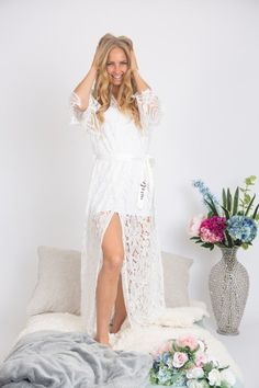 Long lace bridal robe Lace robe Long lace robe Bride robe | Etsy Lace Bridal Robe, Bridal Party Robes, Lace Weddings, Wedding Lace, Bridesmaid Robes, White Slip, Boudoir, Etsy, Note