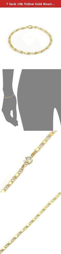 """7 Inch 10k Yellow Gold Heart Bracelet and Anklet for Women and Girls, (0.14""""). Beautiful hearts on hollow links join in an alternating pattern to form this splendid chain. With its posh design, this chain characterizes elegance and class. The chain is durable and will last a lifetime when properly cared for. To keep this high polished bracelet shining and scratch-free, avoid contact with chlorine and other harsh chemicals. Do not wear jewelry during rough work and be sure to store it in a..."""