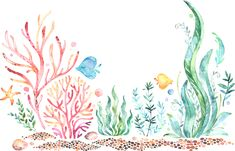 Watercolor Mermaid, Coral Watercolor, Watercolor Wallpaper, Watercolor Images, Watercolor Pattern, Watercolor Paintings, Son Tattoos, Mouse Tattoos, Family Tattoos